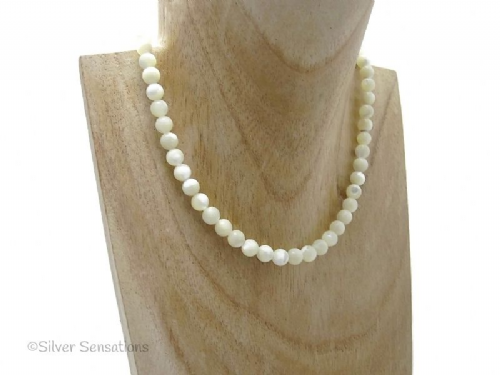 Ivory Cream Mother Of Pearl Rounds Sterling Silver Necklace